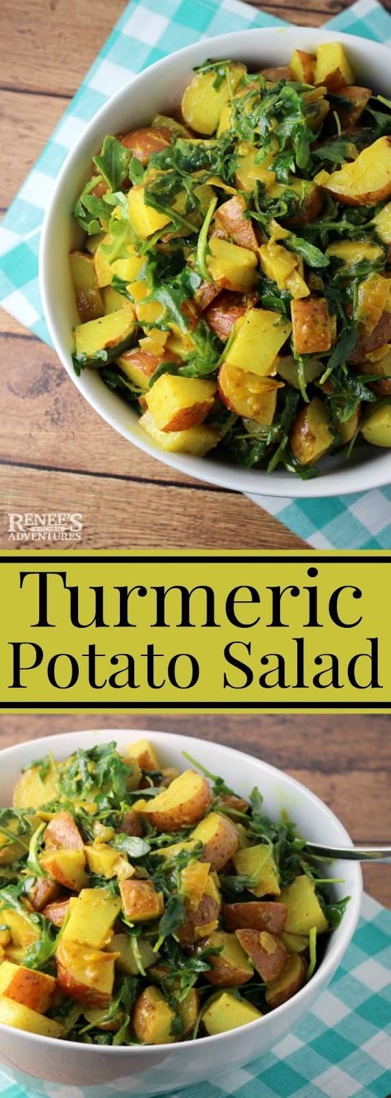 Turmeric Potato Salad | Renee's Kitchen Adventures - easy side dish recipe for potato salad made with turmeric, red potatoes, arugula with a mustard vinaigrette. Does not have mayonnaise in it. Vegan and Vegetarian