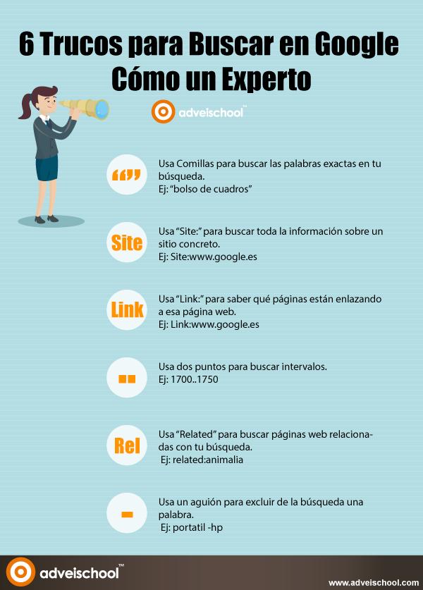 Infografía 6 Trucos para Buscar en Google Cómo un Experto.