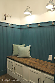 Mud room bench from kitchen cabinets