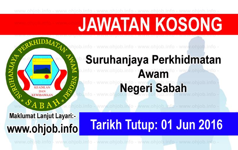 Jawatan Kerja Kosong Suruhanjaya Perkhidmatan Awam Negeri Sabah logo www.ohjob.info jun 2016