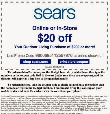 graphic relating to Sears Coupons Printable titled Sears Printable Discount coupons Could possibly 2018