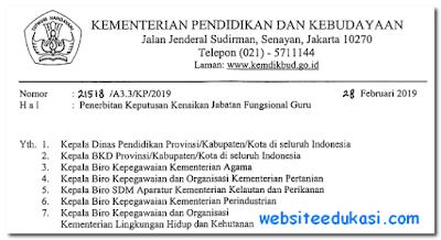 Penerbitan Keputusan Kenaikan Jabatan Fungsional Guru 2019