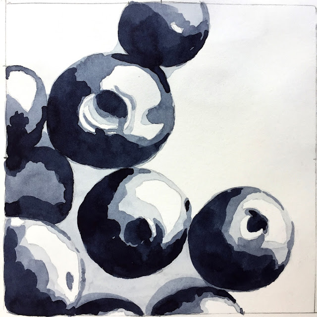 4-value study using Daniel Smith Indigo watercolor in Strathmore 500 Series Mixed Media Journal - by Amy Lamp
