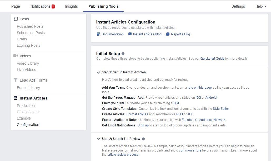Configure instant articles