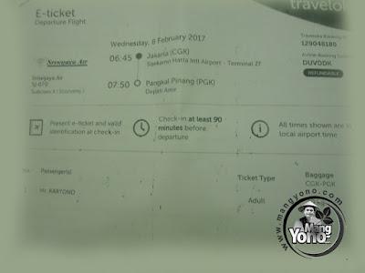 Tiket Pergi /keberangkatan Pesawat Sriwijaya Air Jakarta -   Pangkalpinang, Bangka Belitung
