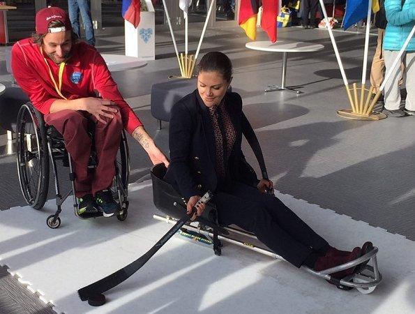 Crown Princess Victoria wore-MaxMara Wool and angora coat. PyeongChang 2018 Paralympic Winter Games