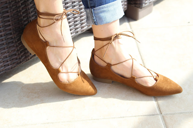 Cognac lace up flats on a budget