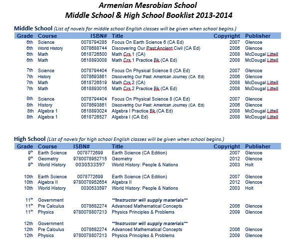Armenian Mesrobian School: Middle School & High School Book List