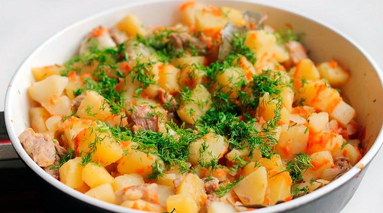 Тушеный картофель с мясом видео