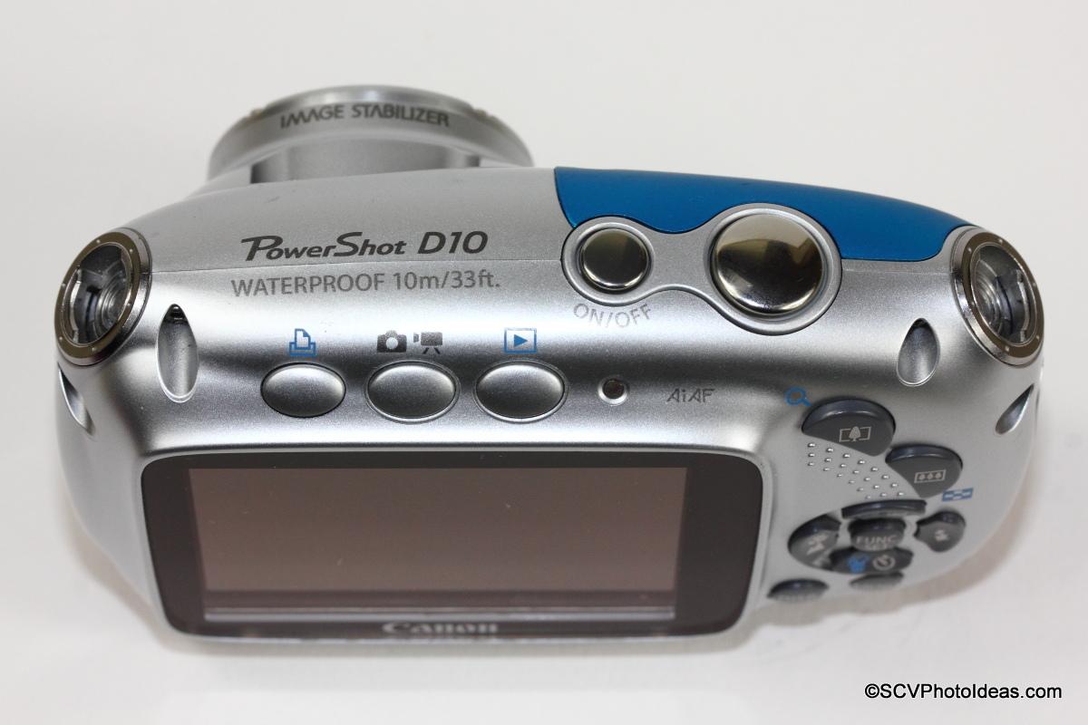 Canon PowerShot D10 Camera top
