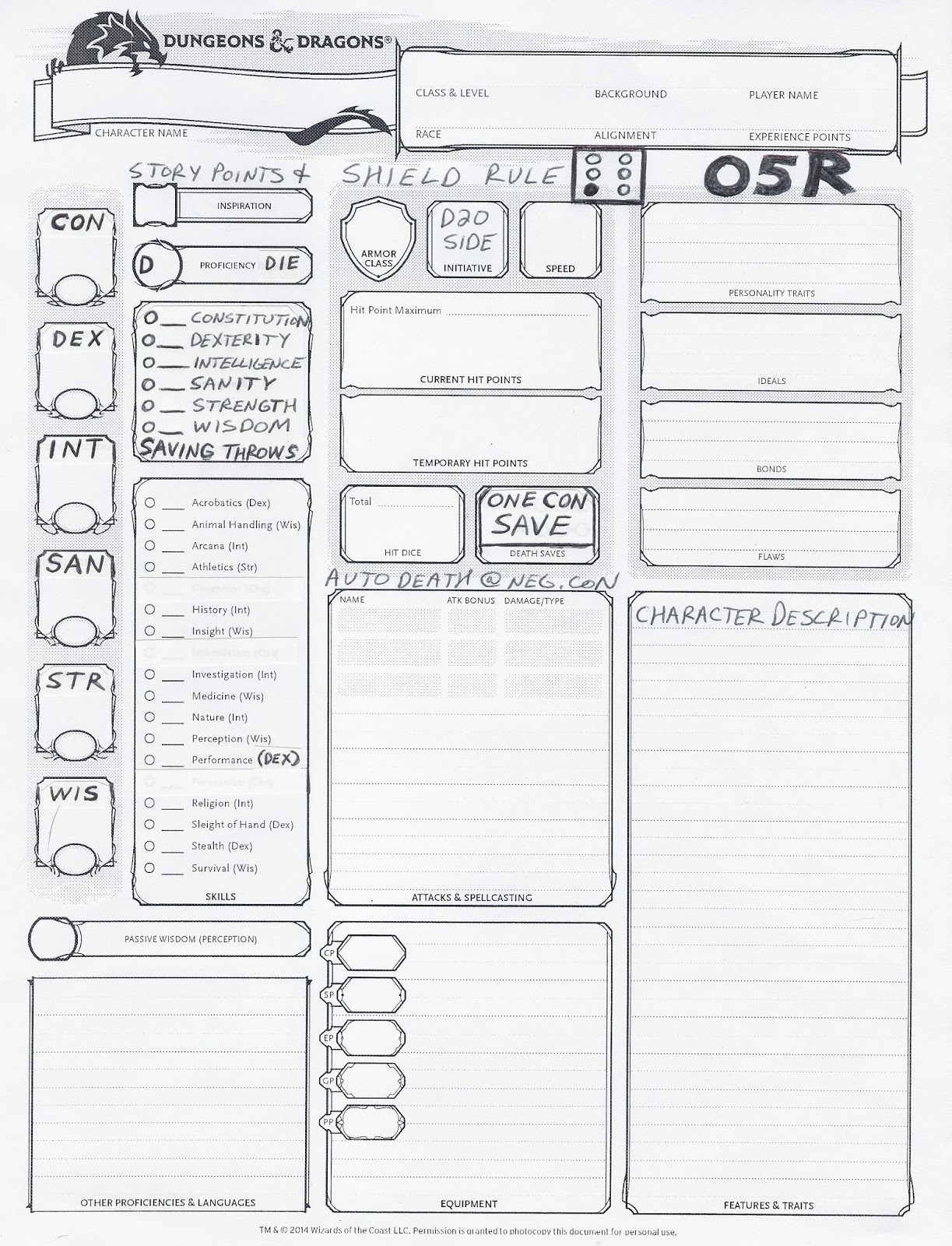 samwise7rpg o5r dungeons dragons character sheet incorporating optional house rules. Black Bedroom Furniture Sets. Home Design Ideas