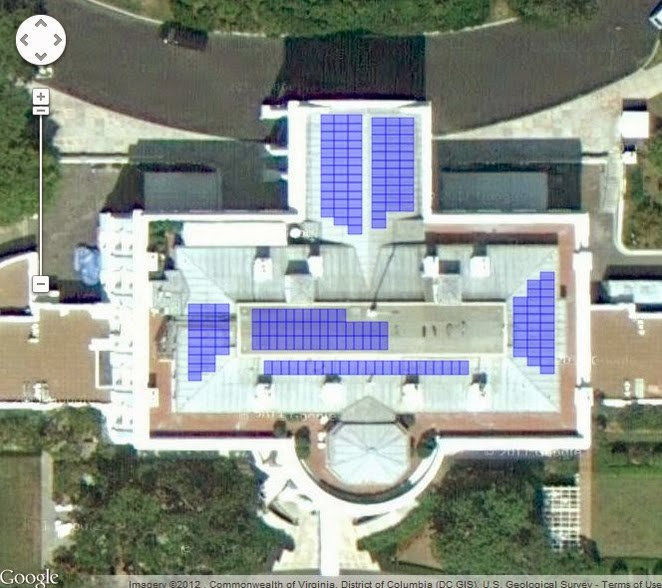 Satellite image of solar panels on the roof of the White House at 1600 Pennsylvania Avenue