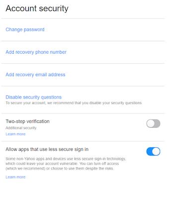 Yahooメールのアカウント設定