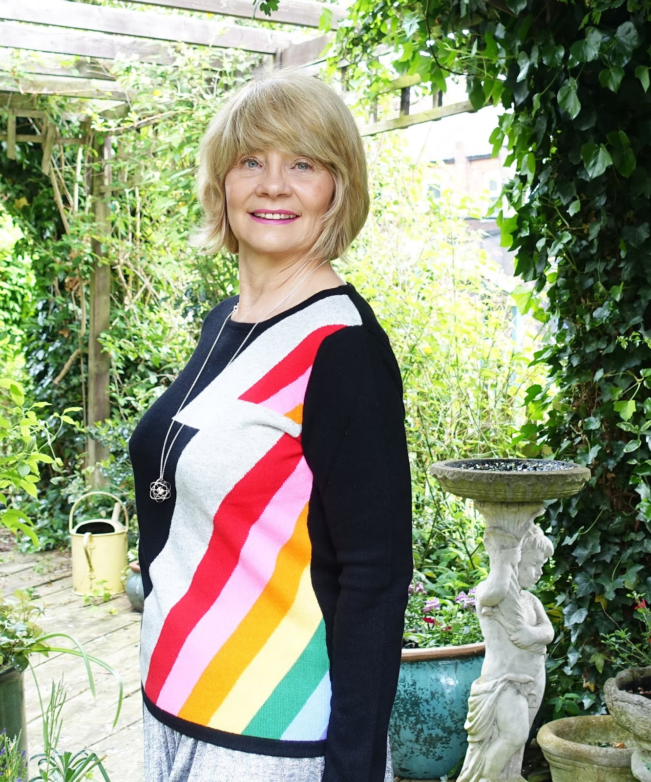 Over 50s style blog Is This Mutton? on the joys of the Bowie stripe cashmere jumper