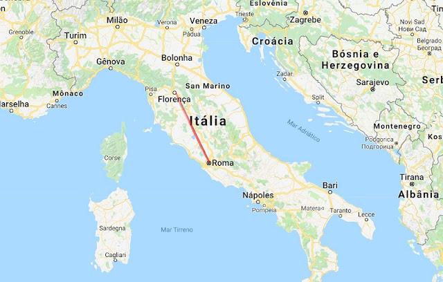 Mapa de viagem de Roma a Florença