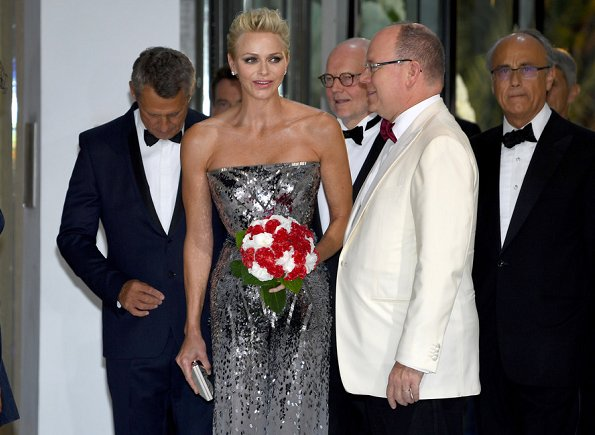 Princess Charlene wore Strapless Silver Sequin jumpsuit at Monaco Red Cross Ball Gala in Monte-Carlo