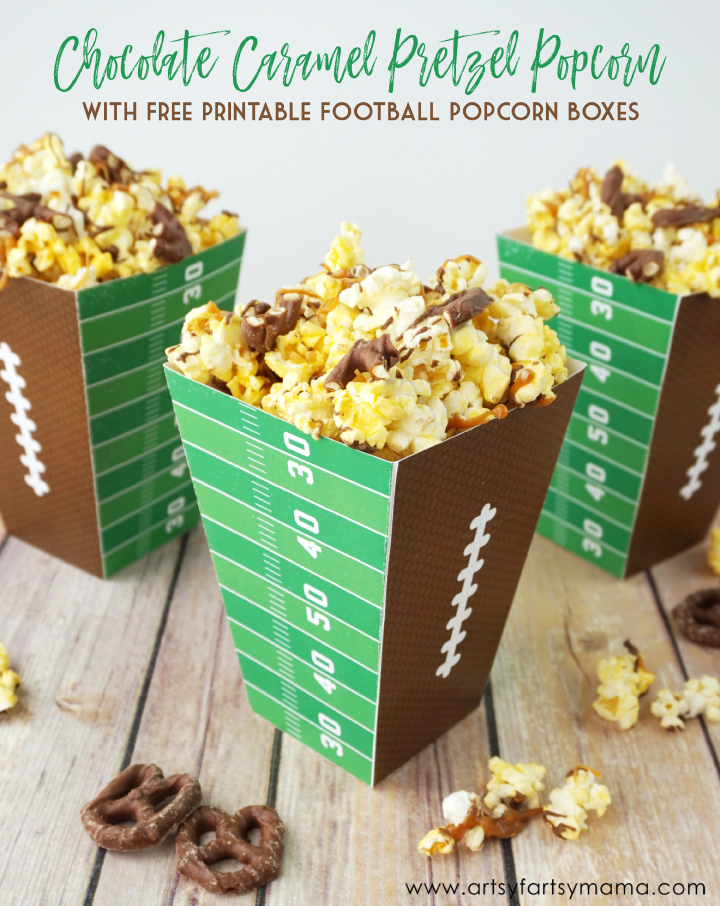 Chocolate Caramel Pretzel Popcorn with Free Printable Football Popcorn Boxes for the Big Game! #AllStarSnackBar