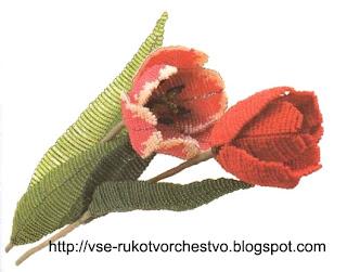 Цветок из бисера тюльпан. Схема