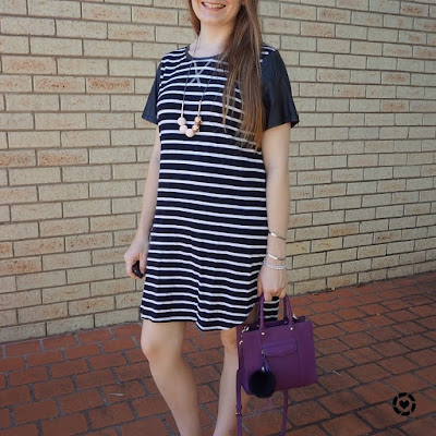awayfromblue Instagram | all about eve striped black tee dress contrast sleeves pink and purple accessories