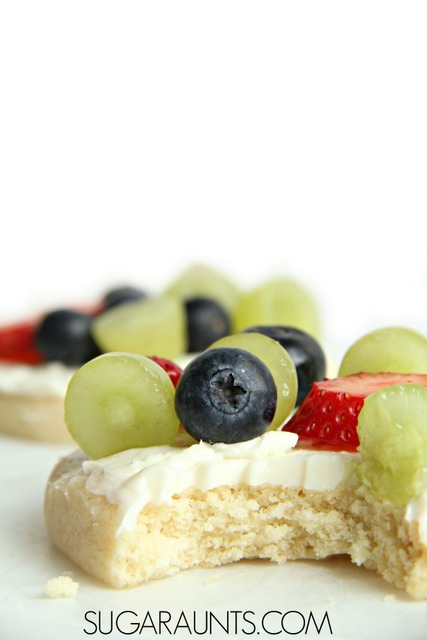 Make mini fruit pizzas with your kids as an after school snack!