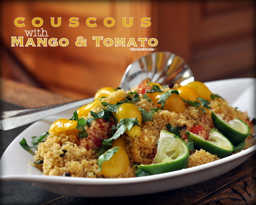 Summer Couscous with Mango & Tomato ♥ KitchenParade.com, couscous all dressed up for summer, quick to make and studded with bites of fresh mango and perfectly ripe summer tomatoes. Vegan. WW Friendly. Low Carb. Easily Gluten Free.