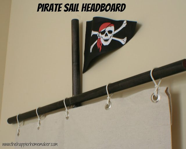 A pirate sail headboard with a close up of a pirate flag on top
