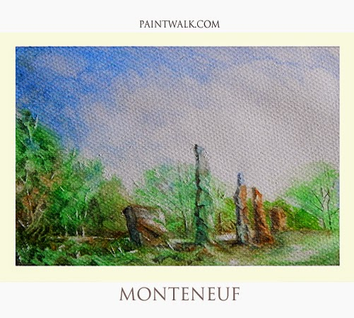 Water Colour Landscape Sketch for sale of Monteneuf Standing Stones Alignments in Brittany, France
