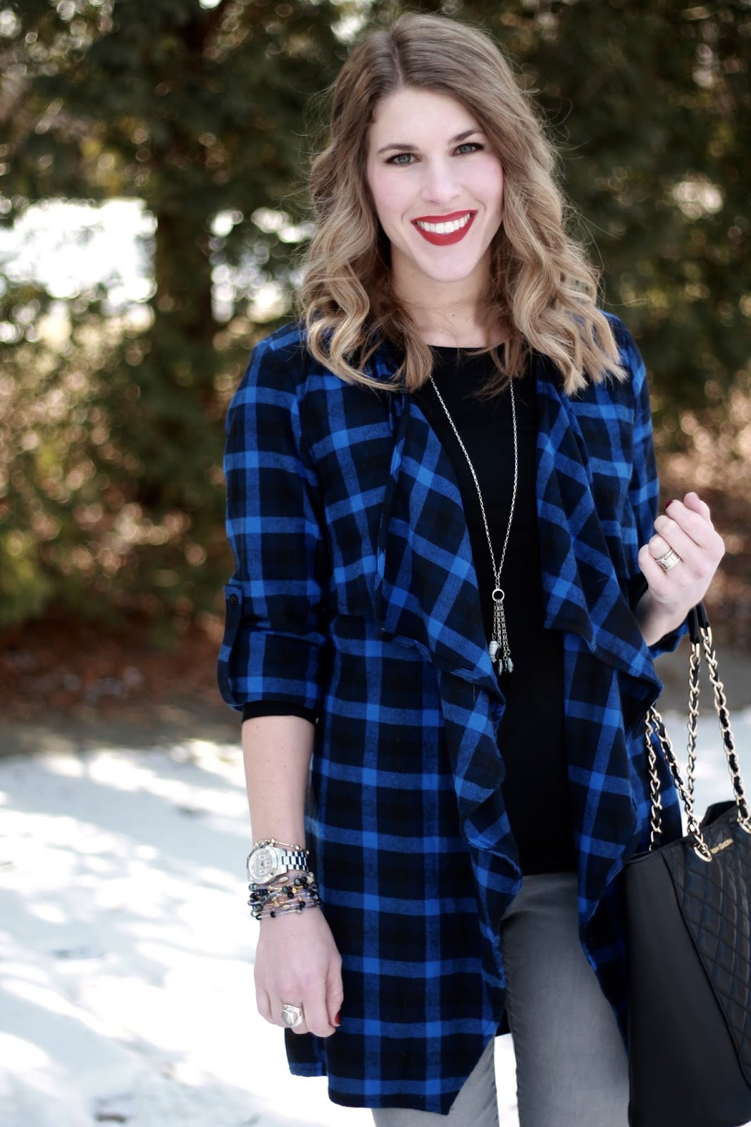blue plaid waterfall cardigan, grey jeans, black tee, Greg Michaels tote, black booties
