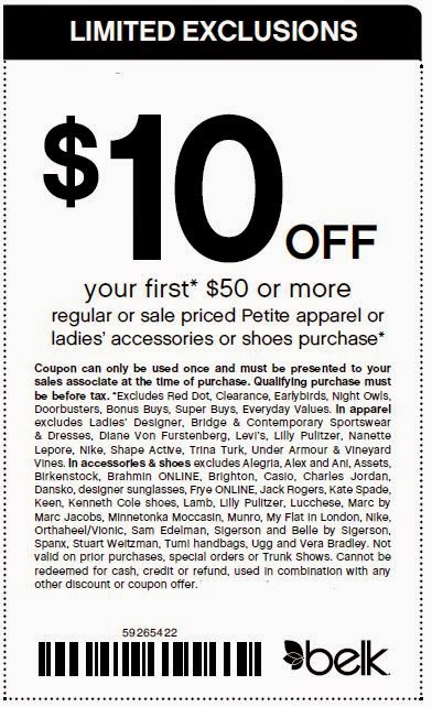 image relating to Belk Printable Coupons referred to as Belk Printable Coupon codes May perhaps 2018