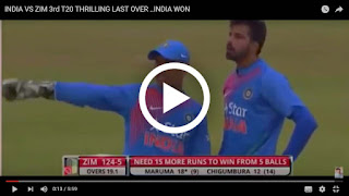 Ind vs Zim 3rd T20 Thrilling Last Over 2016