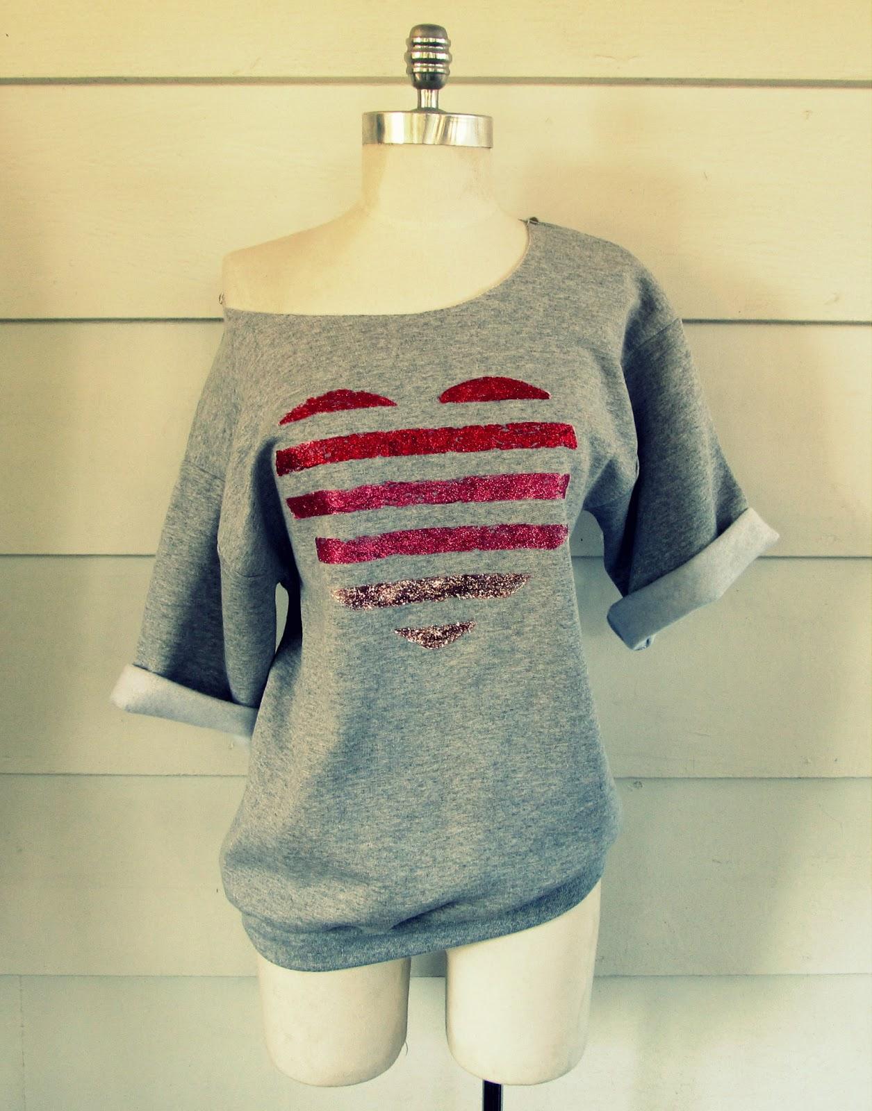 Wobisobi Glitter Striped Heart Sweatshirt Diy