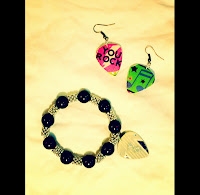 Front: YOU ROCK Matching Guitar Pick Earrings and Bracelet