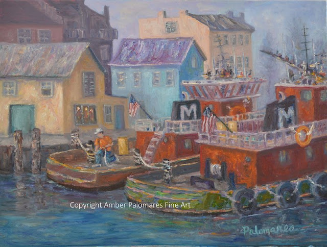 Coastal painting of tugboats along boat docats in Portsmouth