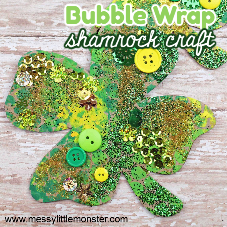 Bubble Wrap Shamrock Craft (with shamrock template)