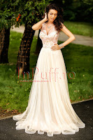 Rochie lunga eleganta din tul crem si dantela rose • Atmosphere