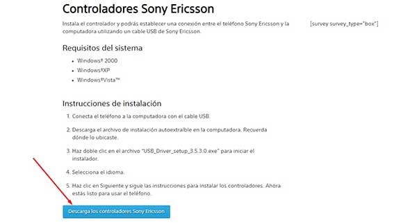 Drivers para teléfonos Sony Ericsson