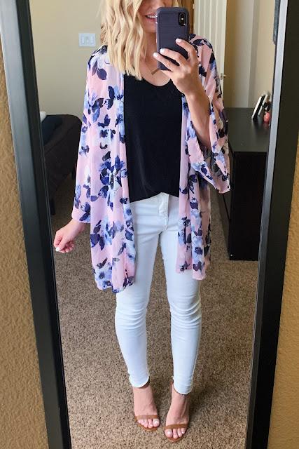 White jeans with a kimono