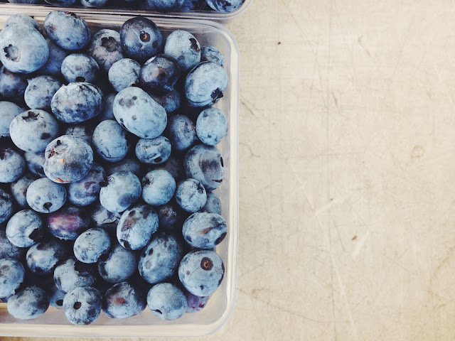 Blueberries at the Farmer's Market in Hudson, Upstate NY