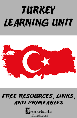 Free printables, resources, links, videos, and educational activities to help kids learn all about the country of Turkey! Incorporate them into your homeschool or classroom geography unit study and make learning fun with these Turkish-themed activities. #turkey #turkish #geography #unitstudy #homeschool #unremarkablefiles