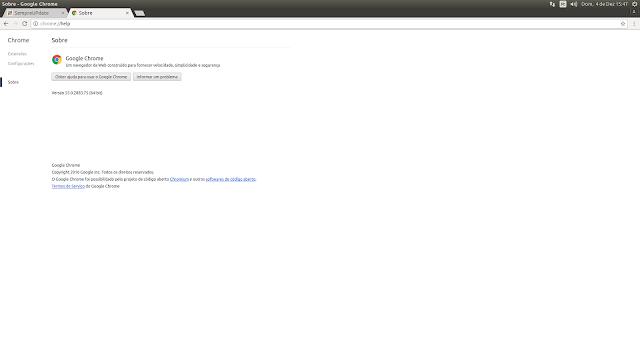 Chrome 55 sendo executado no Ubuntu 16.04
