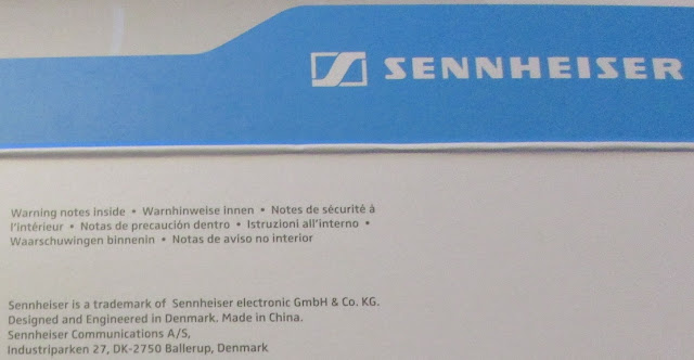 Sennheiser box logo designed and engineered in Denmark made in China address