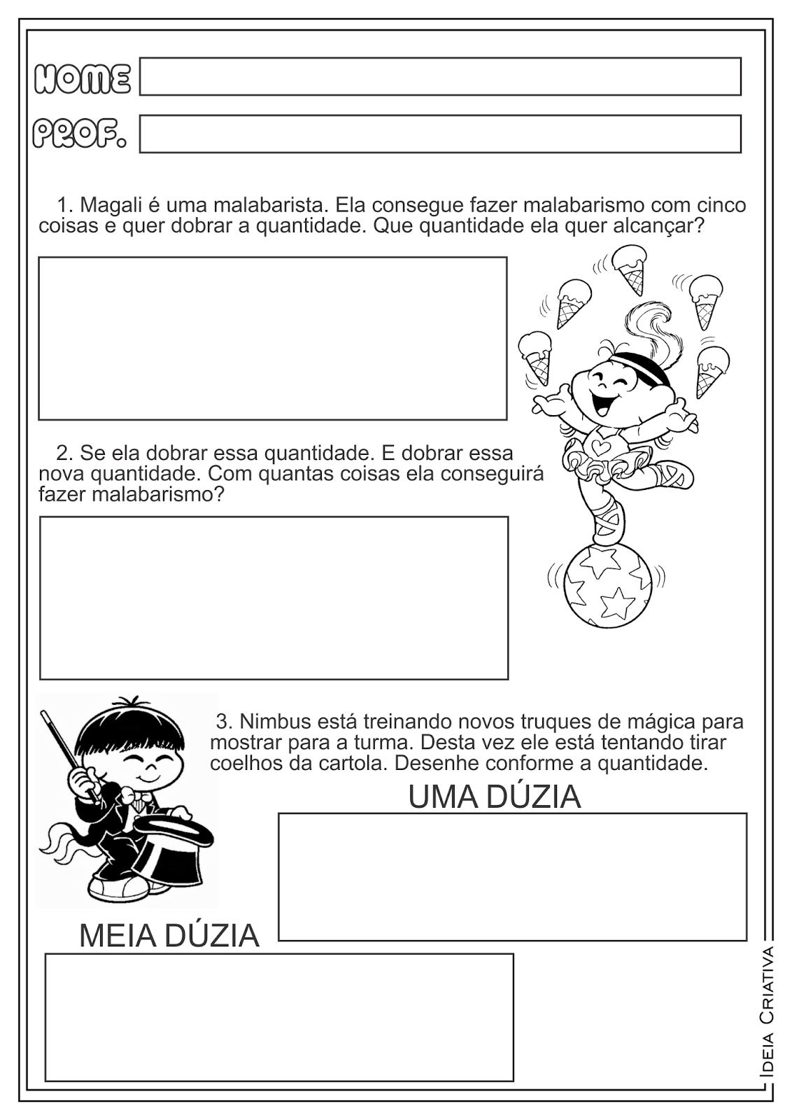 Atividades Dia do Circo Matemática Dobro e Dúzia Turma da Mônica