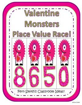 Fern Smith's Place Value Race Game Valentine Monsters