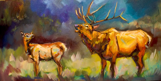 ARTOUTWEST Diane Whitehead Fine Art Wildlife animal art elk bugle