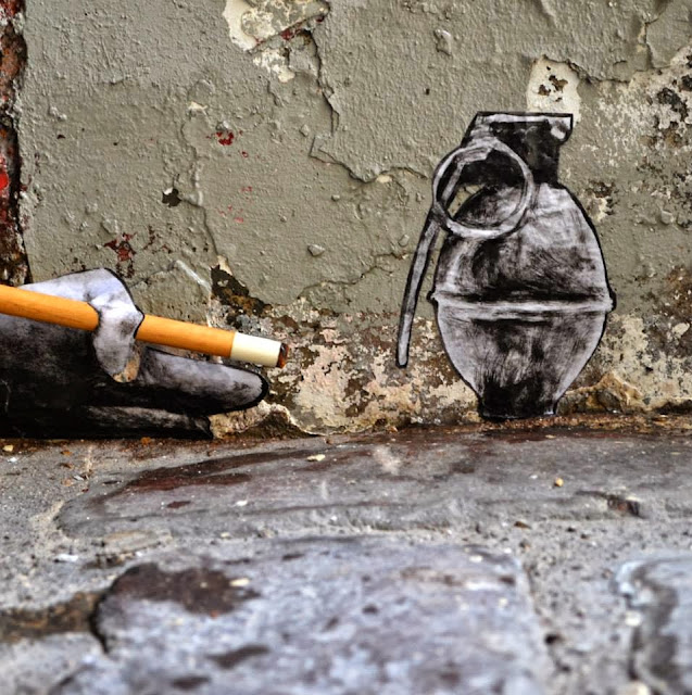 """""""Demineur"""" New Street Piece By French Artist Levalet In Paris, France. 5"""