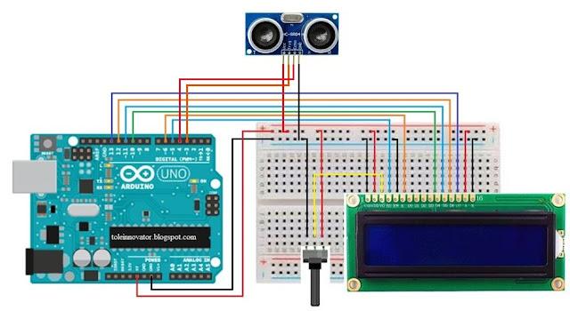 Rangkaian Menampilkan jarak sensor ultrasonik di Lcd 16x2 Arduino