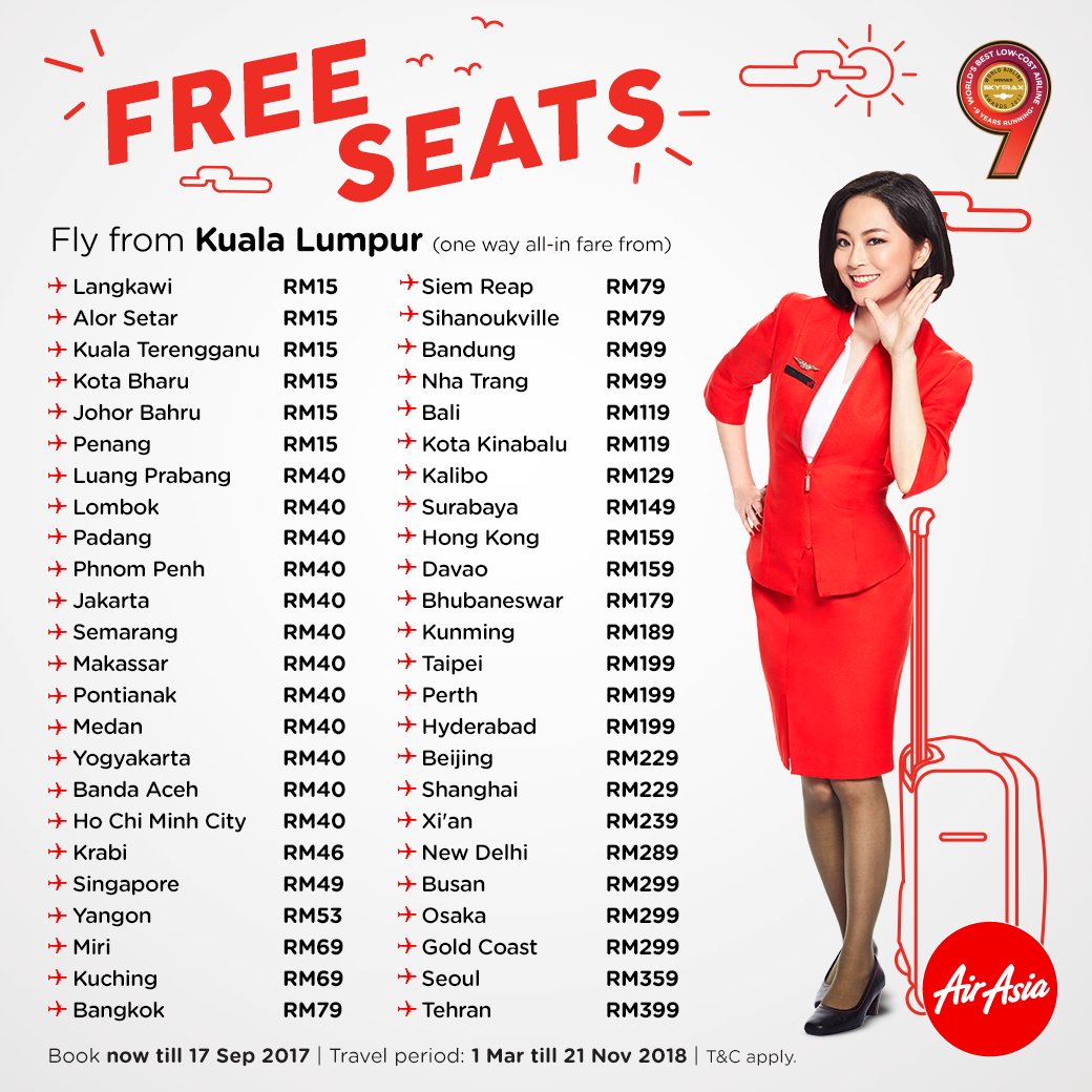 Airasia Free Seats Promotion Booking Until 17 September