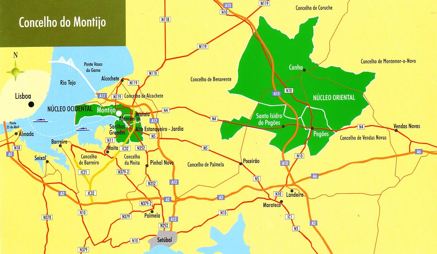 mapa montijo GEO ELVAS: Concelho do Montijo   descontinuidade territorial mapa montijo