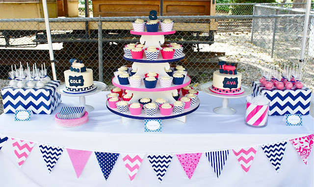 Pink and Navy Train Birthday for TWINS!