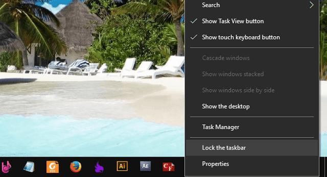 Khóa bàn taskbar trên windows